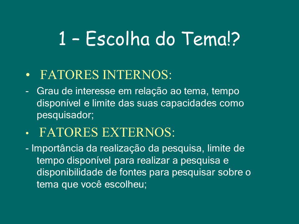 1 – Escolha do Tema! FATORES INTERNOS: