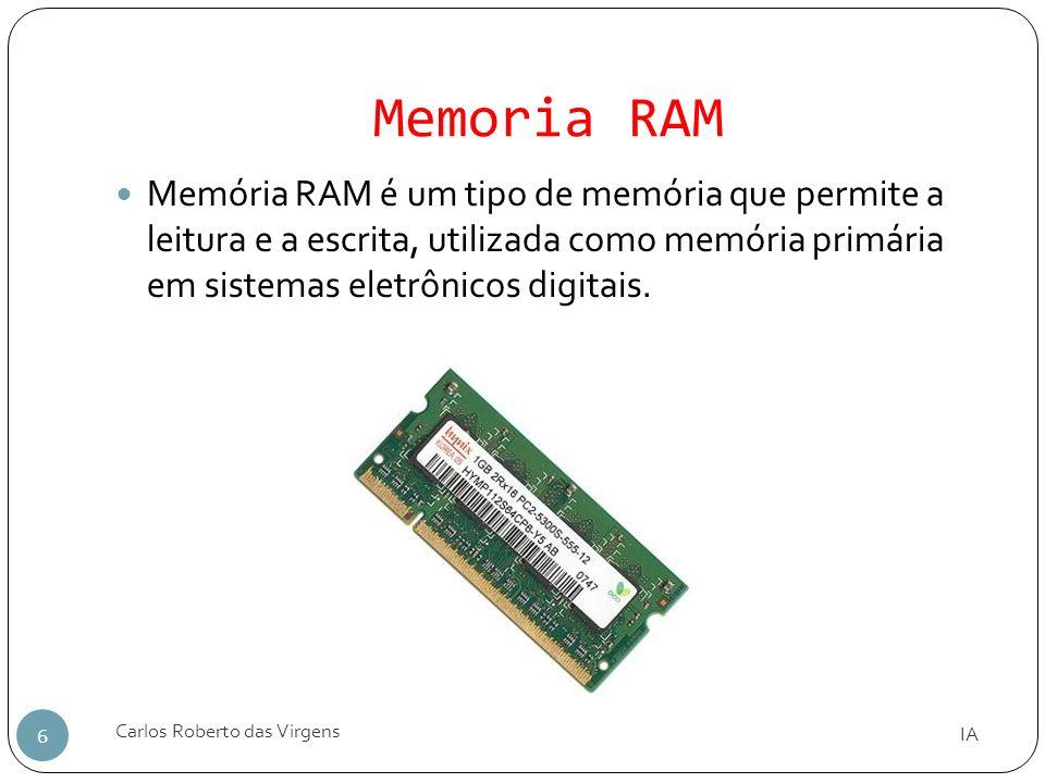 Memoria RAMMemória RAM é um tipo de memória que permite a leitura e a escrita, utilizada como memória primária em sistemas eletrônicos digitais.