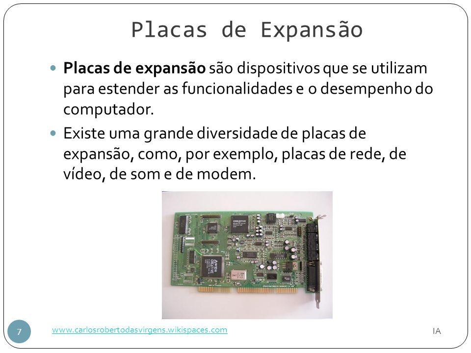 Placas de Expansão Placas de expansão são dispositivos que se utilizam para estender as funcionalidades e o desempenho do computador.