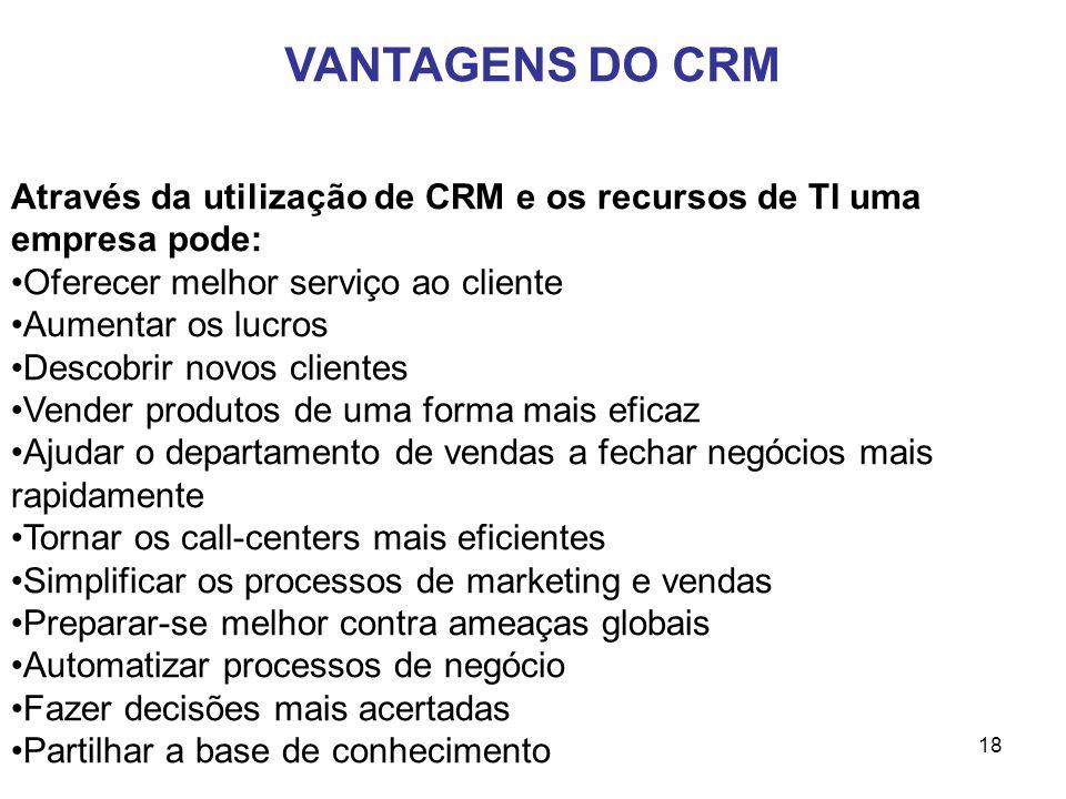VANTAGENS DO CRM Através da utilização de CRM e os recursos de TI uma empresa pode: Oferecer melhor serviço ao cliente.
