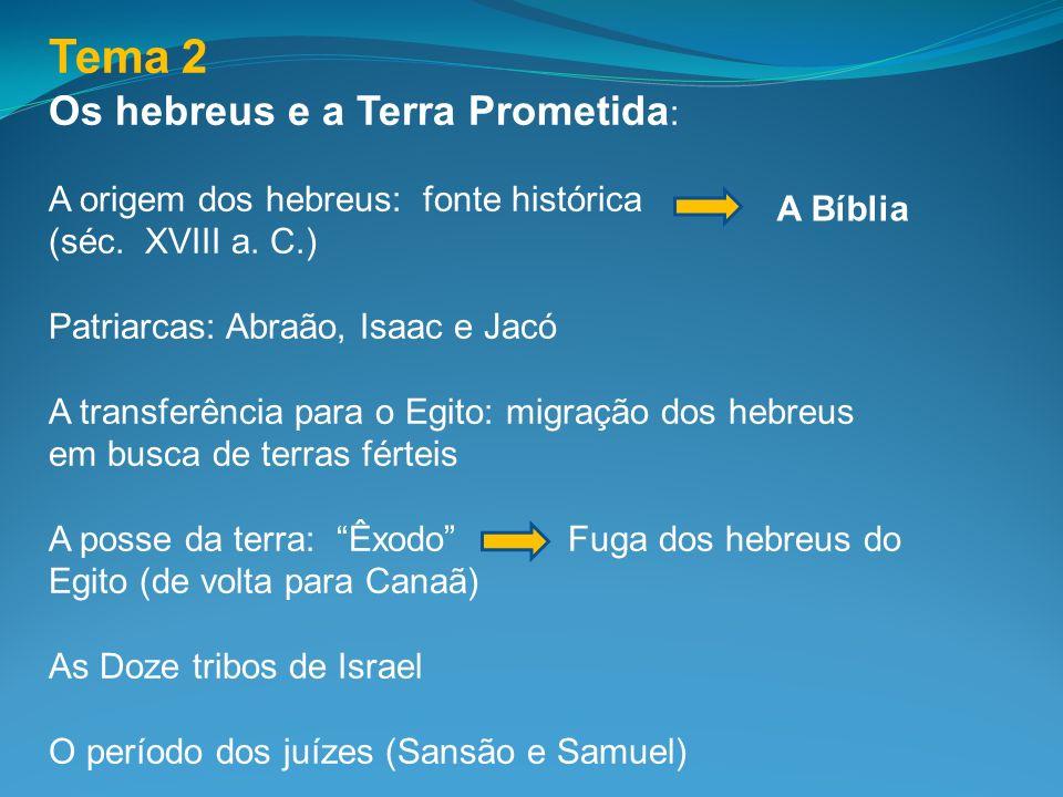 Tema 2 Os hebreus e a Terra Prometida: