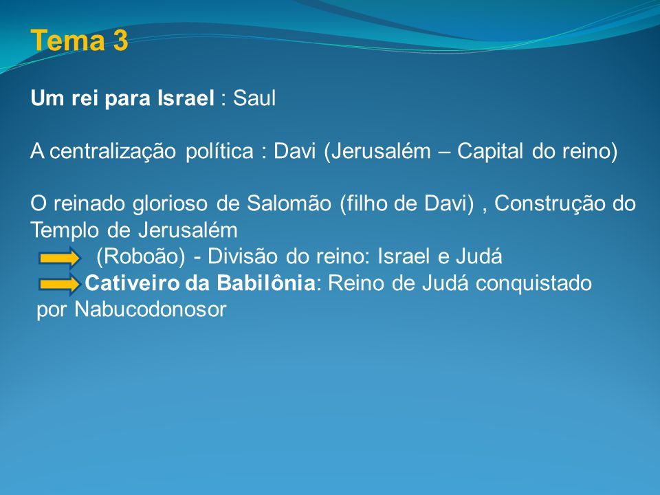 Tema 3 Um rei para Israel : Saul
