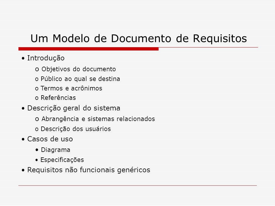 Um Modelo de Documento de Requisitos