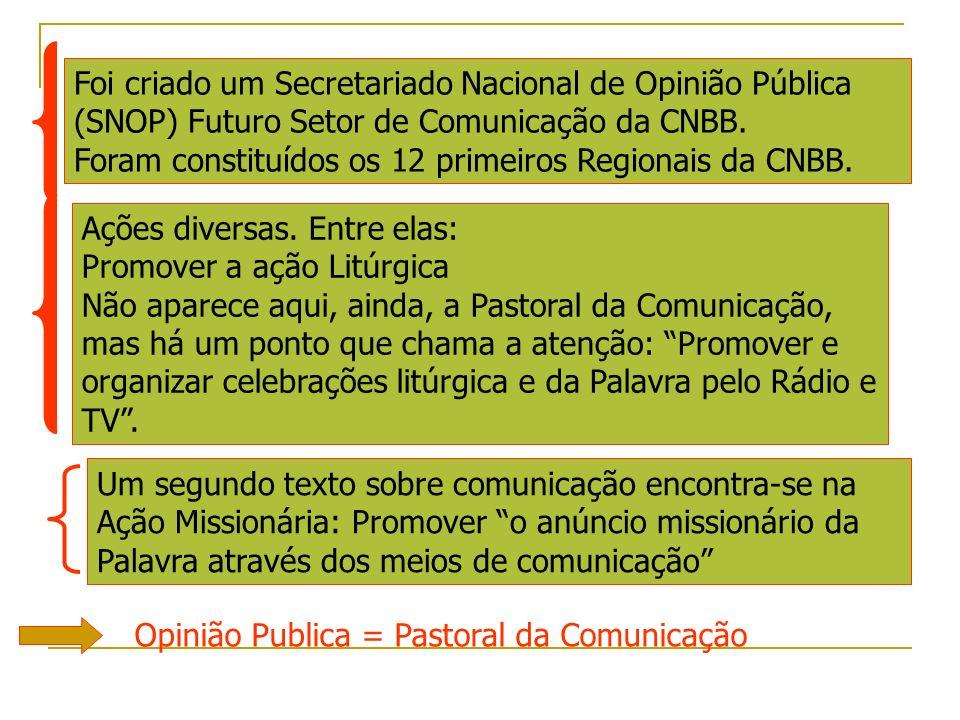 Foi criado um Secretariado Nacional de Opinião Pública (SNOP) Futuro Setor de Comunicação da CNBB. Foram constituídos os 12 primeiros Regionais da CNBB.