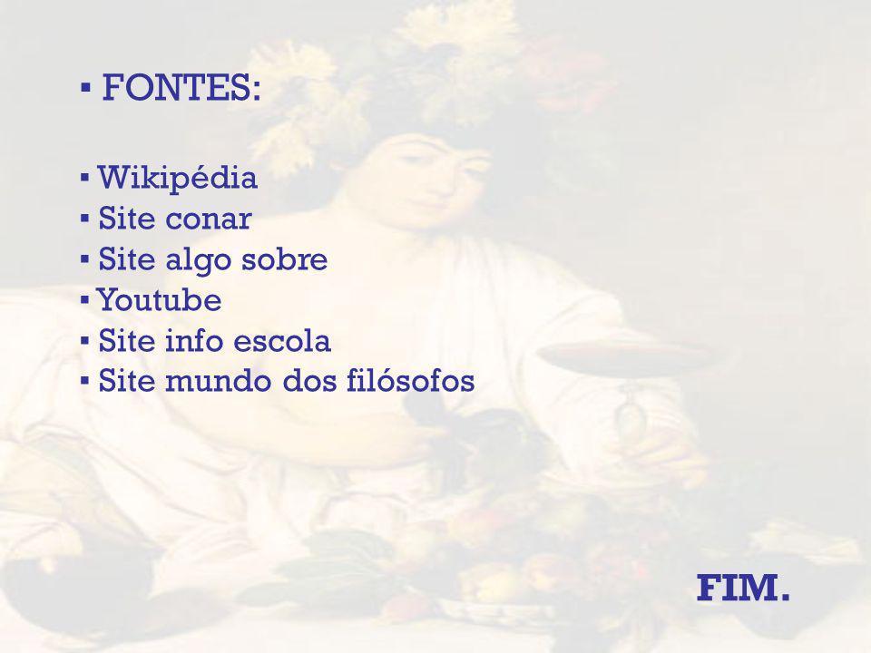 ▪ FONTES: FIM. ▪ Wikipédia ▪ Site conar ▪ Site algo sobre ▪ Youtube