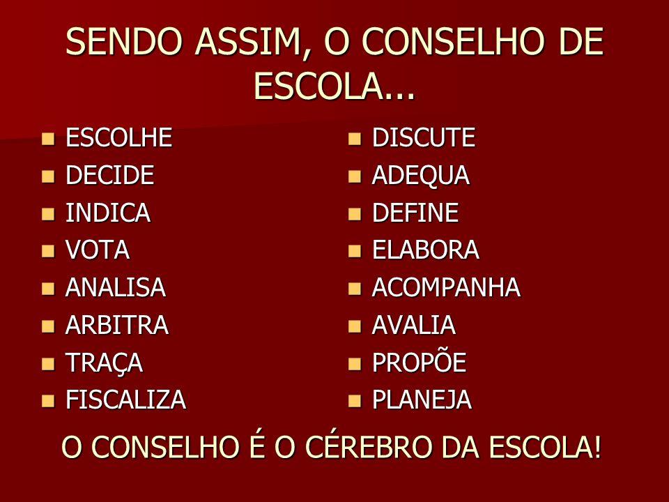 SENDO ASSIM, O CONSELHO DE ESCOLA...