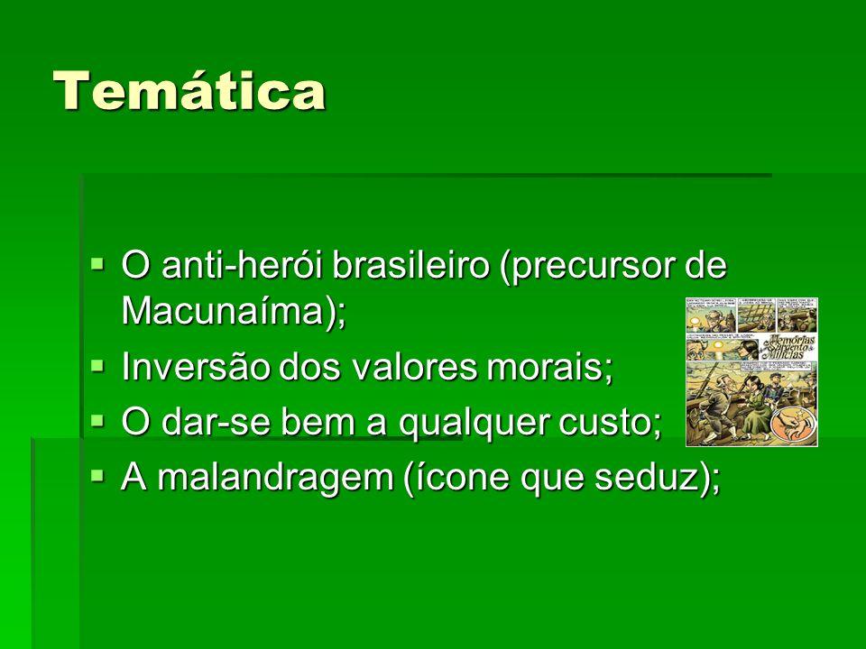 Temática O anti-herói brasileiro (precursor de Macunaíma);