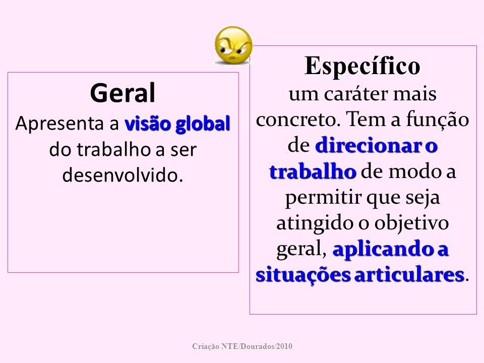 Geral Apresenta a visão global do trabalho a ser desenvolvido.