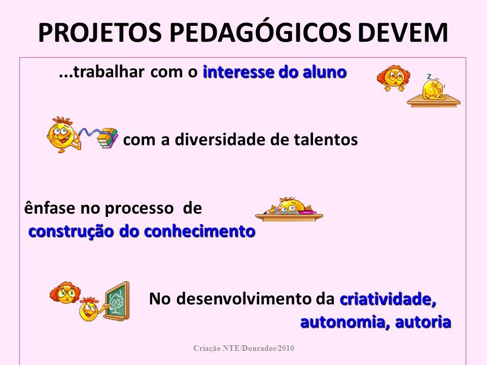 PROJETOS PEDAGÓGICOS DEVEM Criação NTE/Dourados/2010