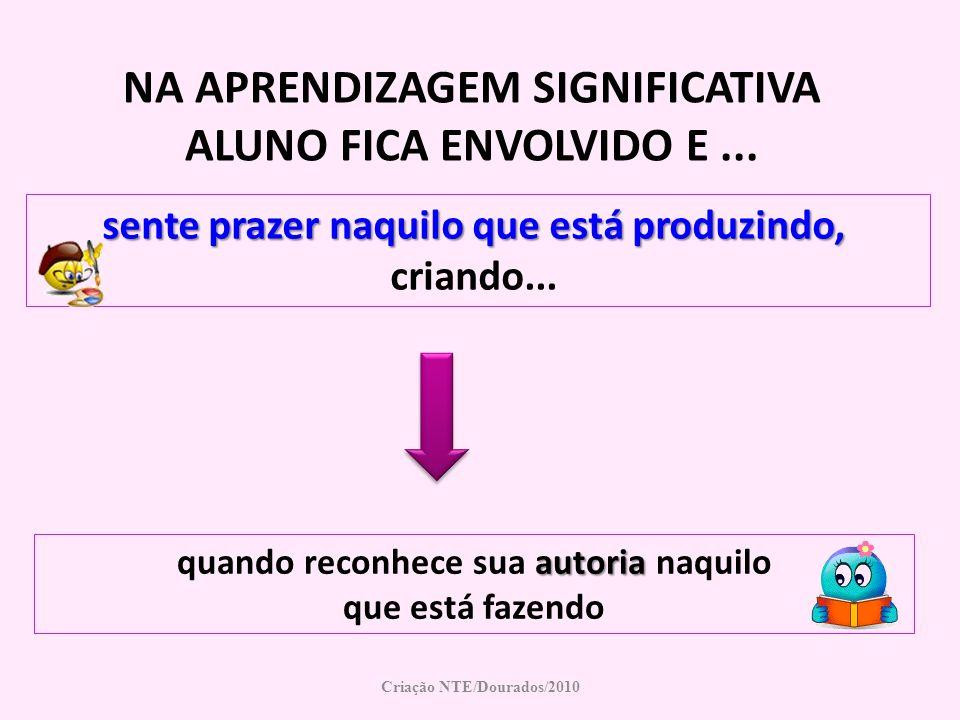 NA APRENDIZAGEM SIGNIFICATIVA ALUNO FICA ENVOLVIDO E ...