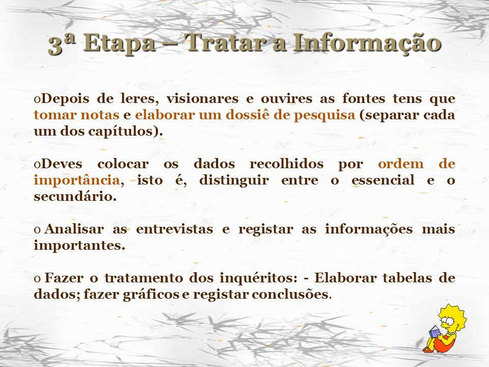 3ª Etapa – Tratar a Informação