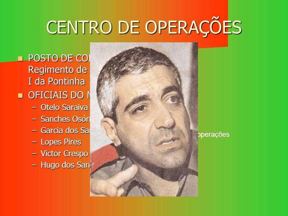 CENTRO DE OPERAÇÕES POSTO DE COMANDO – Regimento de Engenharia I da Pontinha. OFICIAIS DO MFA: Otelo Saraiva de Carvalho.