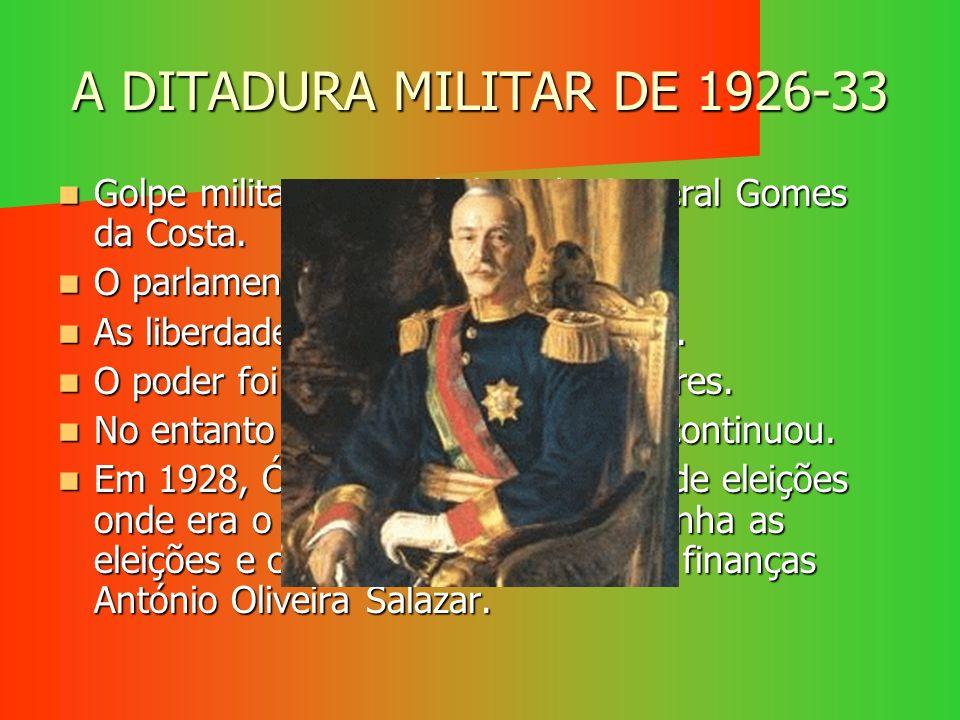 A DITADURA MILITAR DE 1926-33 Golpe militar comandado pelo General Gomes da Costa. O parlamento foi dissolvido.