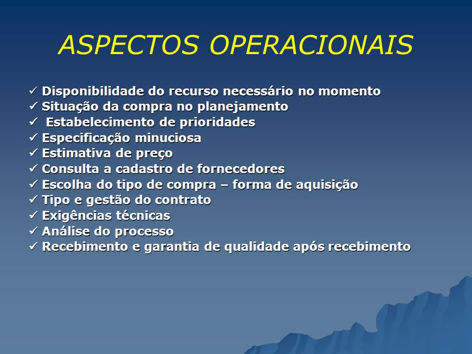 ASPECTOS OPERACIONAIS
