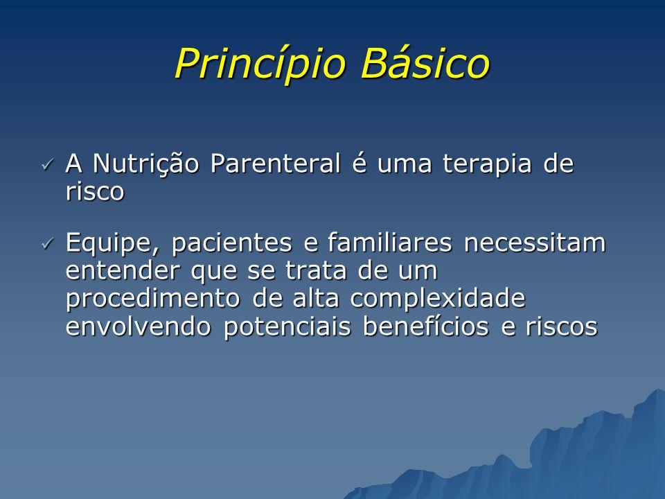 Princípio Básico A Nutrição Parenteral é uma terapia de risco