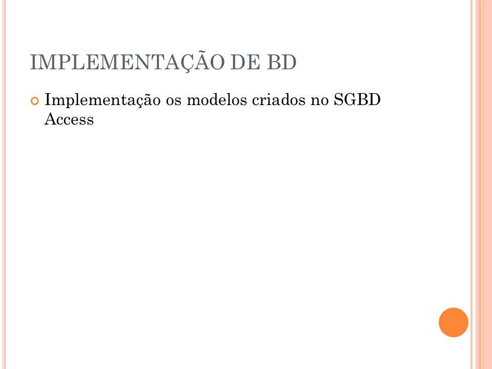 IMPLEMENTAÇÃO DE BD Implementação os modelos criados no SGBD Access