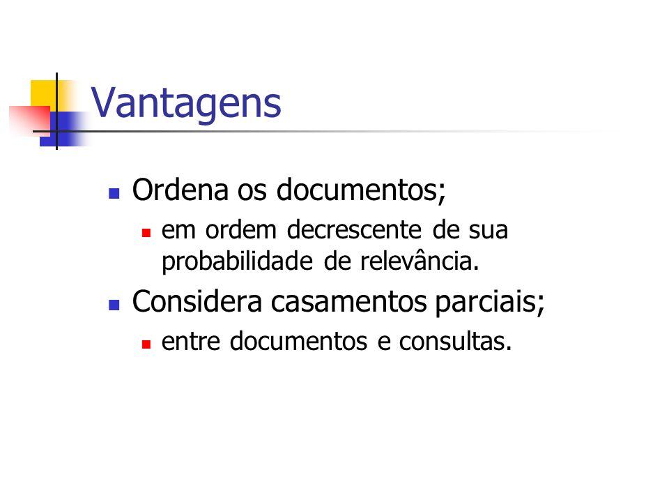 Vantagens Ordena os documentos; Considera casamentos parciais;