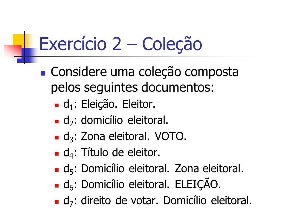Exercício 2 – Coleção Considere uma coleção composta pelos seguintes documentos: d1: Eleição. Eleitor.