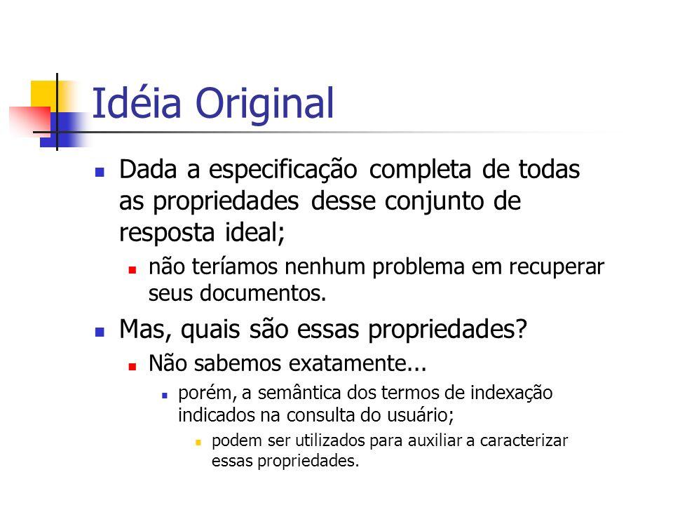 Idéia Original Dada a especificação completa de todas as propriedades desse conjunto de resposta ideal;