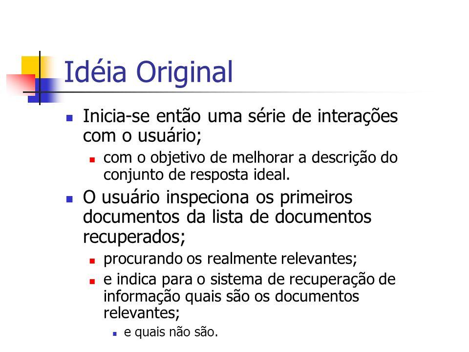 Idéia Original Inicia-se então uma série de interações com o usuário;