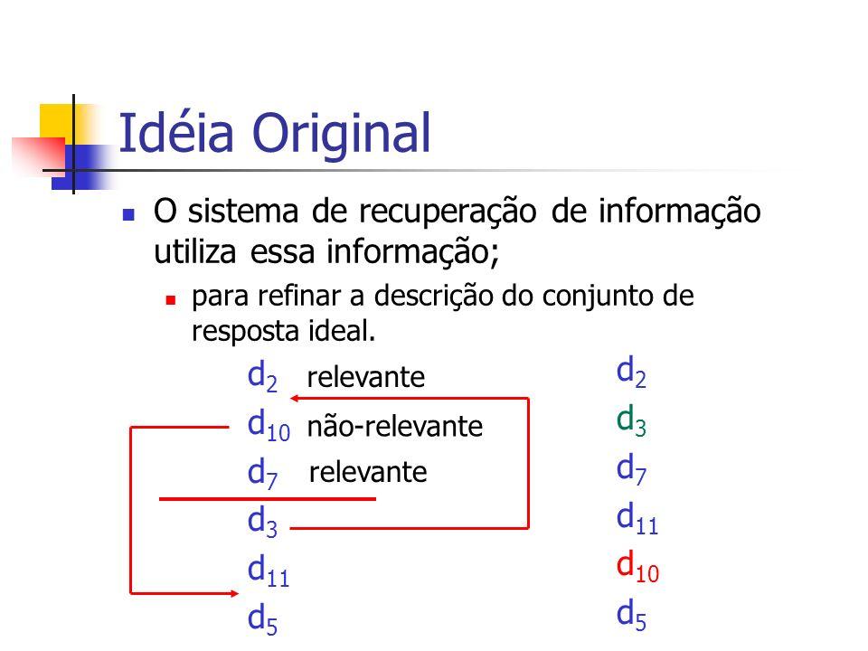 Idéia Original O sistema de recuperação de informação utiliza essa informação; para refinar a descrição do conjunto de resposta ideal.