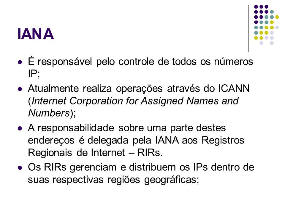 IANA É responsável pelo controle de todos os números IP;