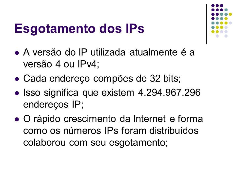 Esgotamento dos IPs A versão do IP utilizada atualmente é a versão 4 ou IPv4; Cada endereço compões de 32 bits;