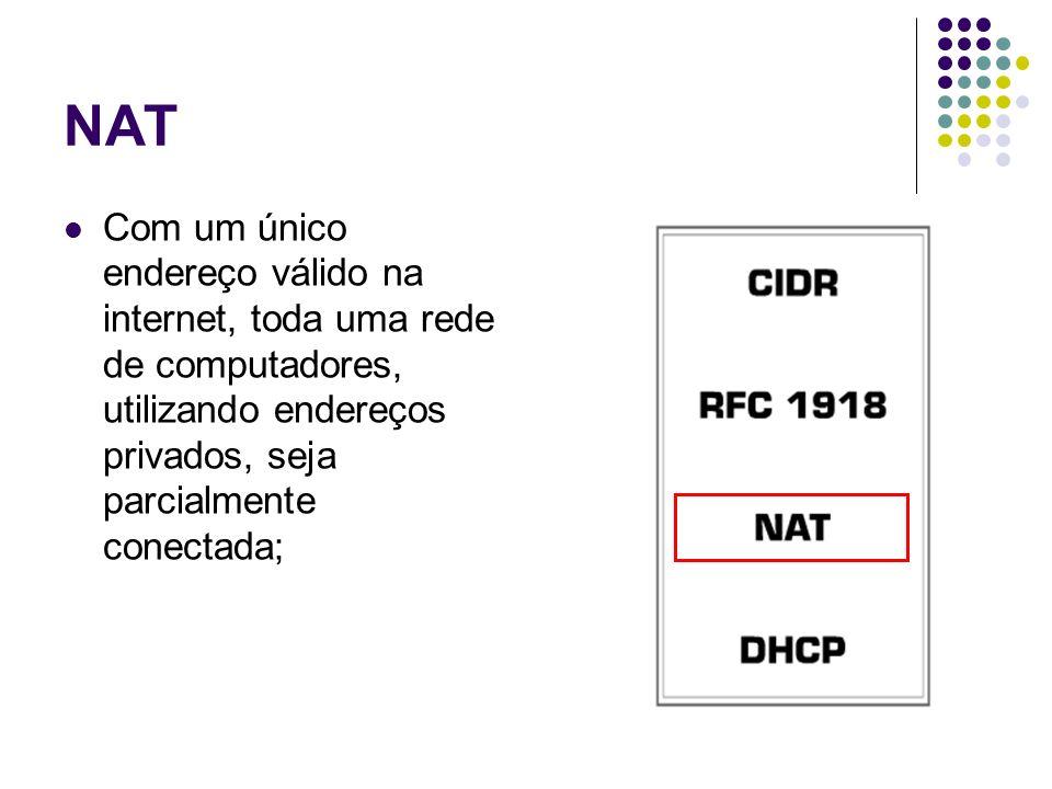 NAT Com um único endereço válido na internet, toda uma rede de computadores, utilizando endereços privados, seja parcialmente conectada;