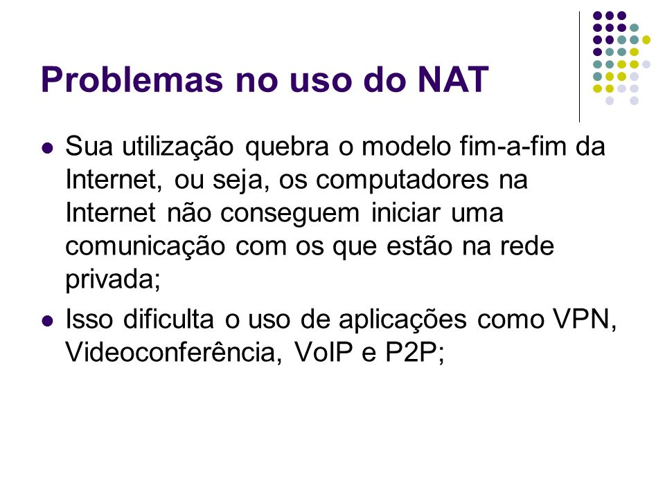 Problemas no uso do NAT
