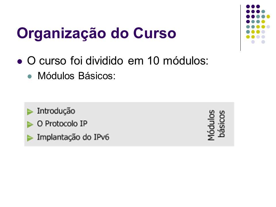 Organização do Curso O curso foi dividido em 10 módulos: