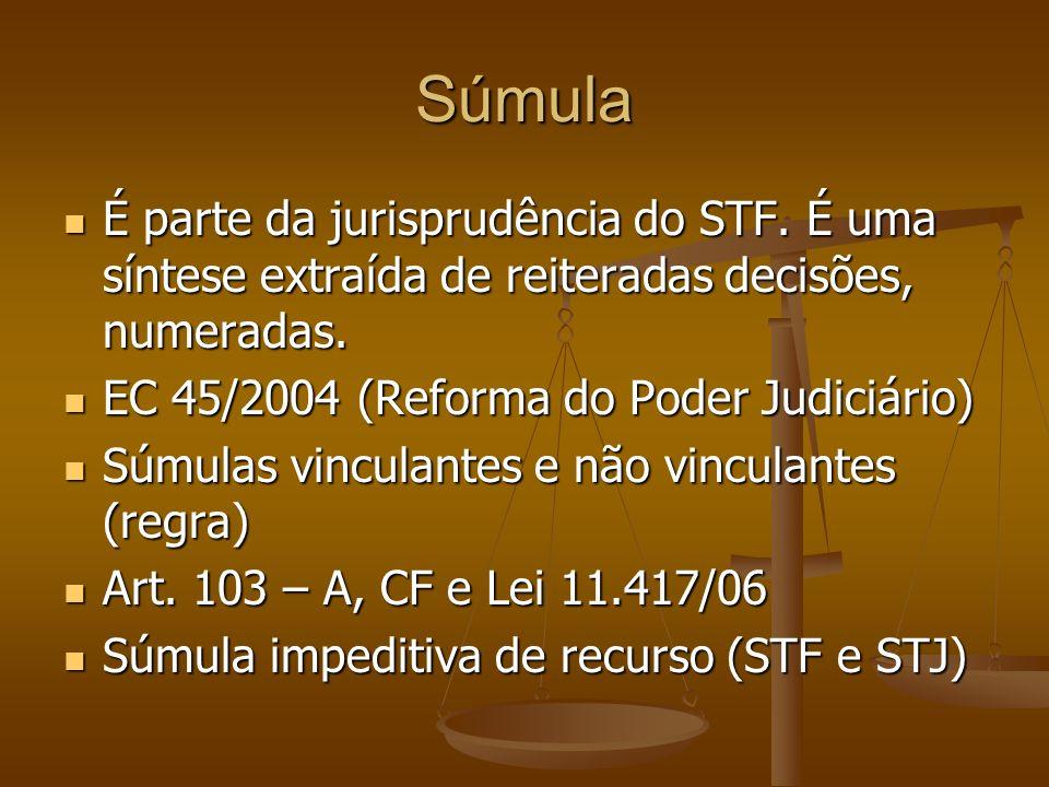 Súmula É parte da jurisprudência do STF. É uma síntese extraída de reiteradas decisões, numeradas. EC 45/2004 (Reforma do Poder Judiciário)