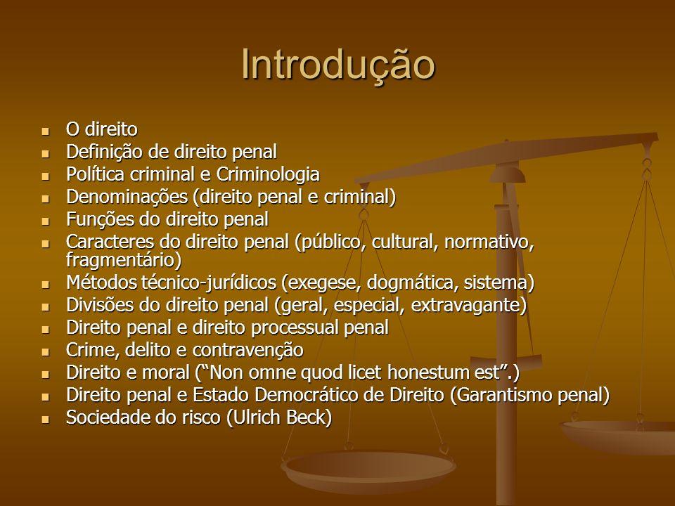 Introdução O direito Definição de direito penal