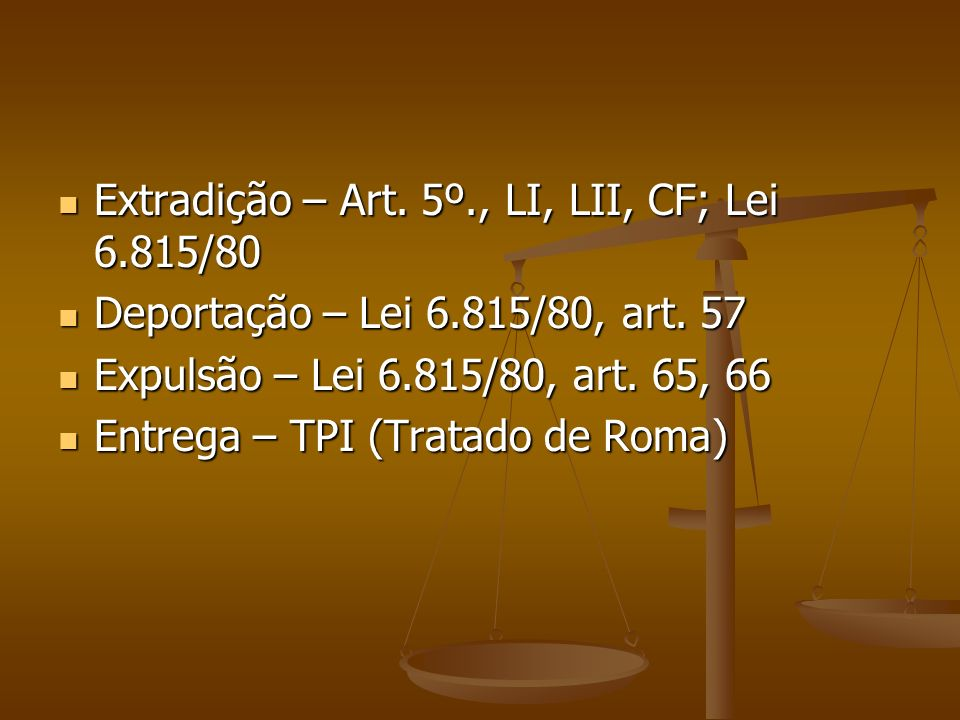Extradição – Art. 5º., LI, LII, CF; Lei 6.815/80