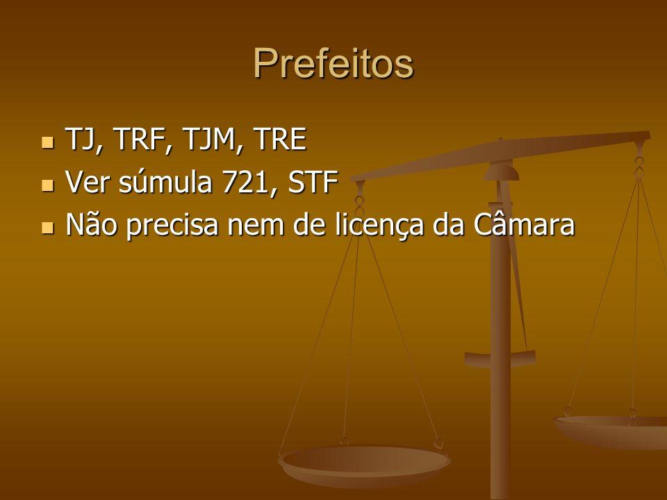 Prefeitos TJ, TRF, TJM, TRE Ver súmula 721, STF