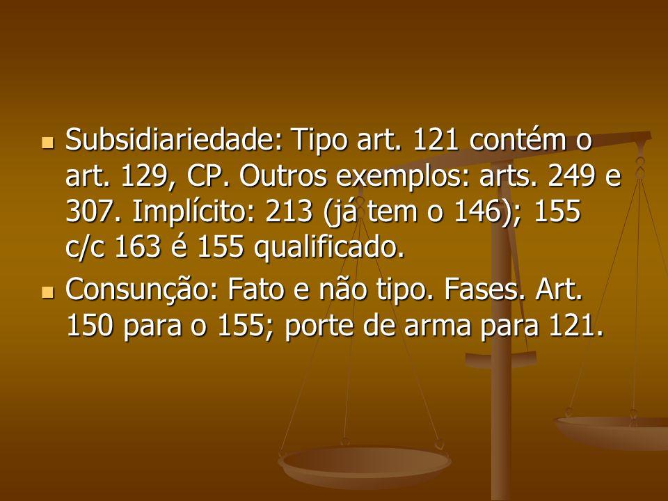 Subsidiariedade: Tipo art. 121 contém o art. 129, CP