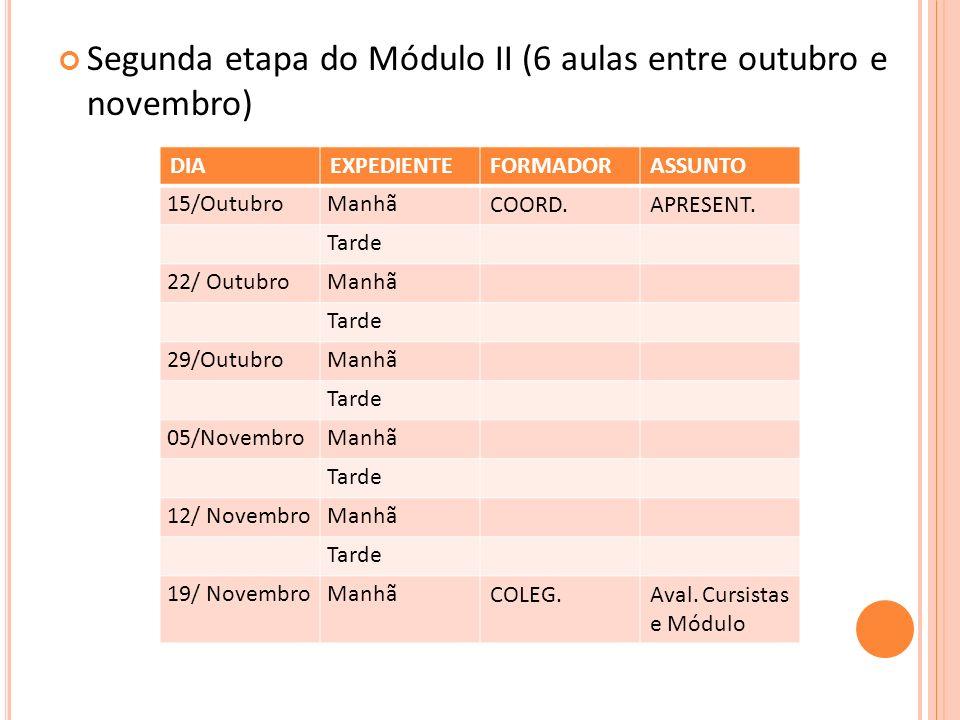 Segunda etapa do Módulo II (6 aulas entre outubro e novembro)