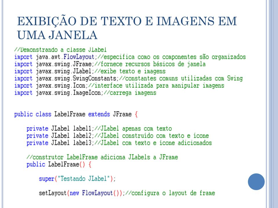 EXIBIÇÃO DE TEXTO E IMAGENS EM UMA JANELA