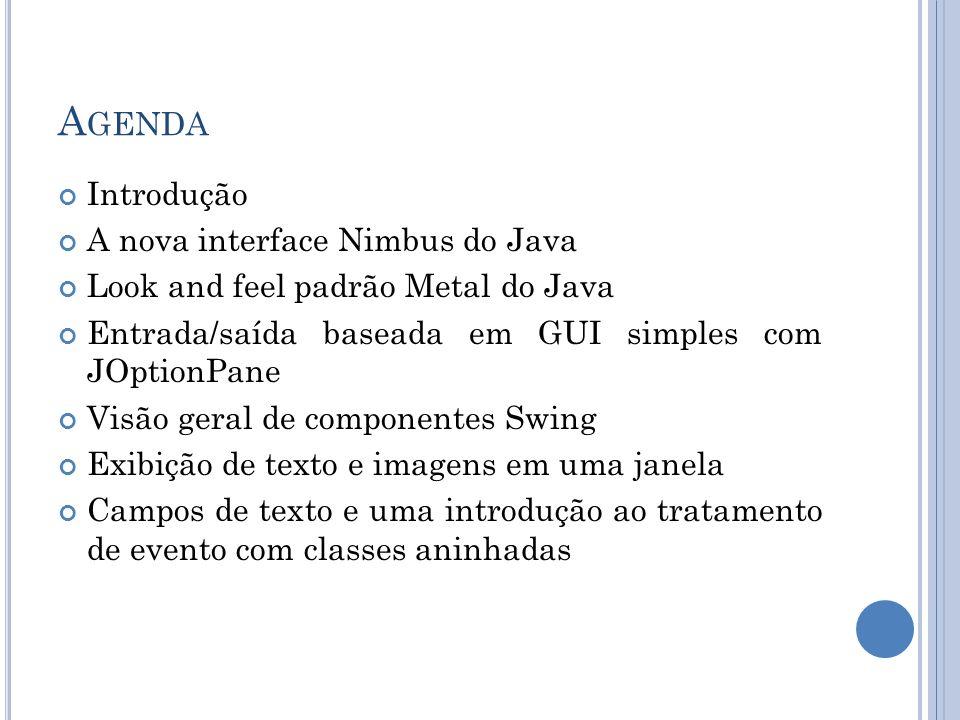 Agenda Introdução A nova interface Nimbus do Java