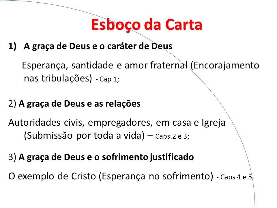 Esboço da Carta A graça de Deus e o caráter de Deus. Esperança, santidade e amor fraternal (Encorajamento nas tribulações) - Cap 1;
