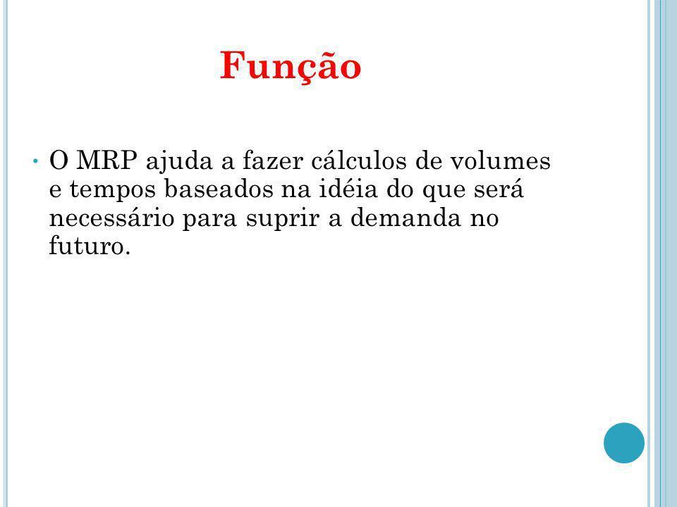 FunçãoO MRP ajuda a fazer cálculos de volumes e tempos baseados na idéia do que será necessário para suprir a demanda no futuro.