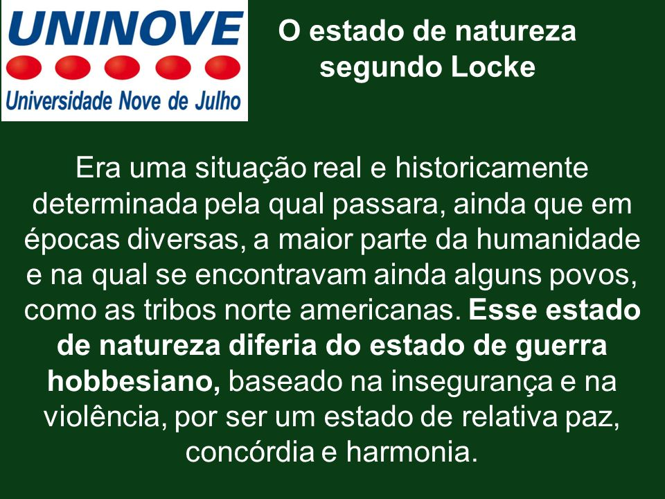 O estado de natureza segundo Locke.