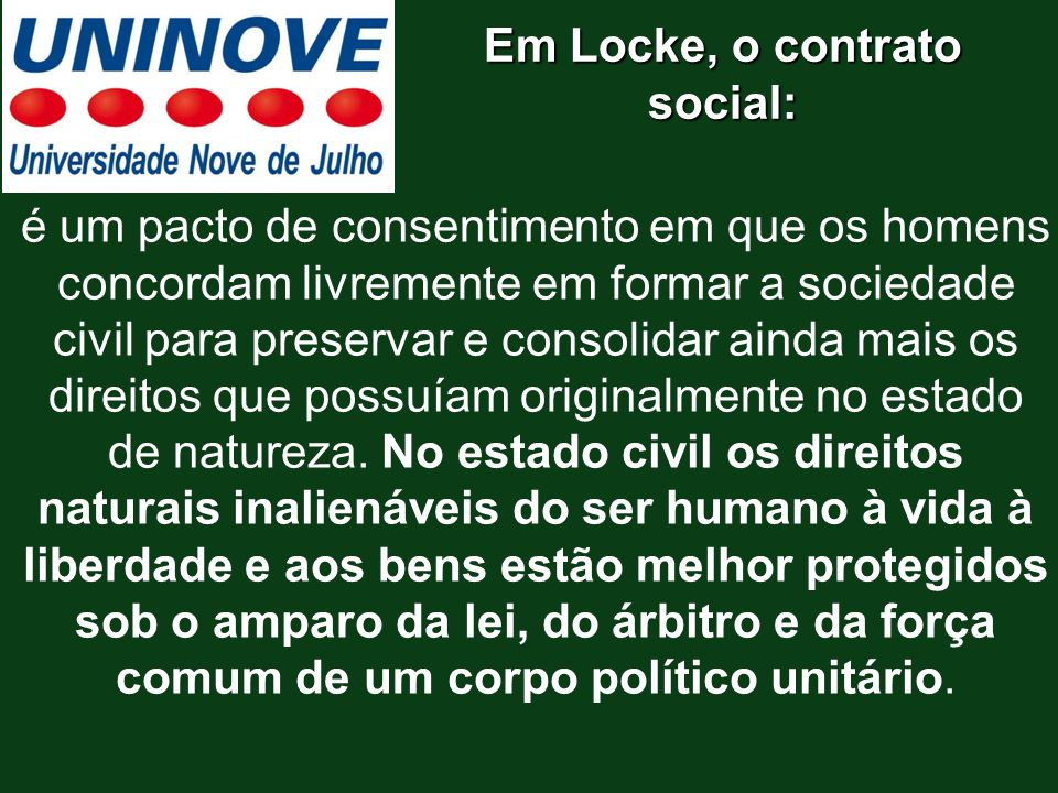 Em Locke, o contrato social: