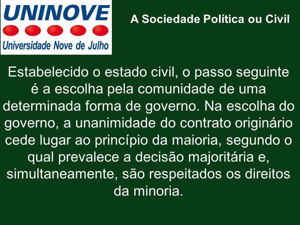 A Sociedade Política ou Civil