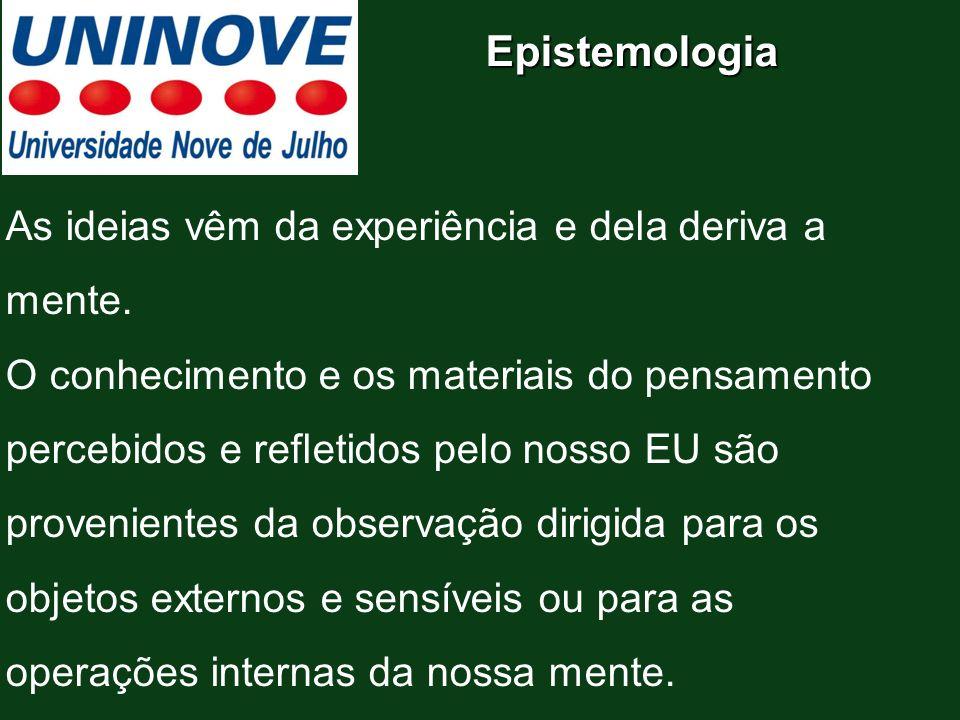 Epistemologia As ideias vêm da experiência e dela deriva a mente.