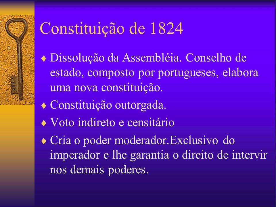 Constituição de 1824 Dissolução da Assembléia. Conselho de estado, composto por portugueses, elabora uma nova constituição.