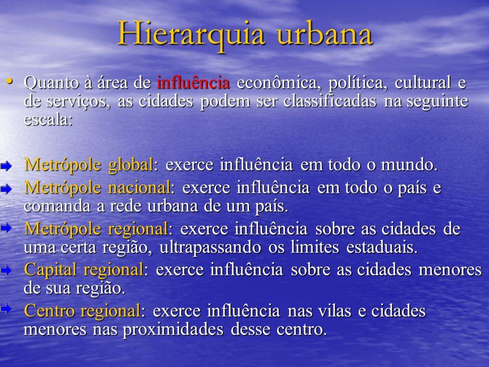 Hierarquia urbana Quanto à área de influência econômica, política, cultural e de serviços, as cidades podem ser classificadas na seguinte escala: