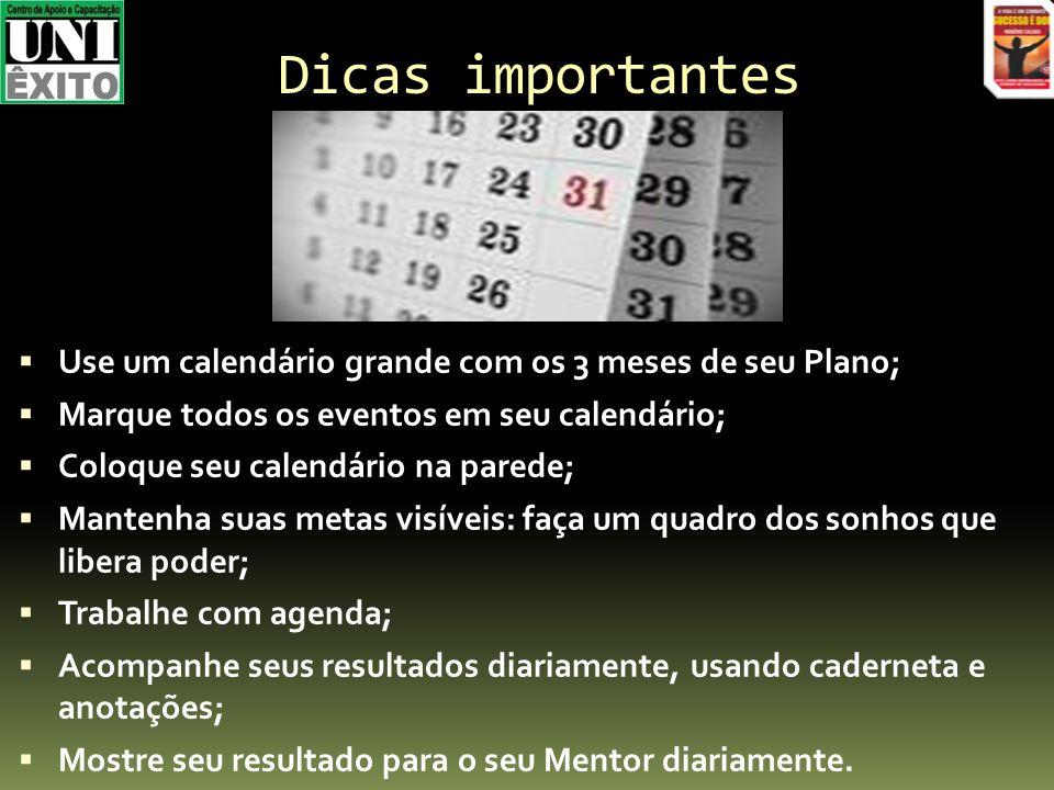 Dicas importantes Use um calendário grande com os 3 meses de seu Plano; Marque todos os eventos em seu calendário;