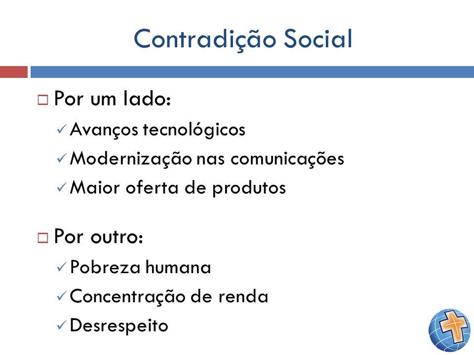 Contradição Social Por um lado: Por outro: Avanços tecnológicos