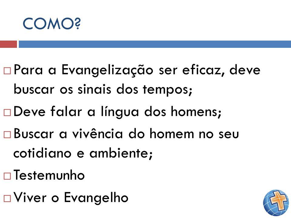 COMO Para a Evangelização ser eficaz, deve buscar os sinais dos tempos; Deve falar a língua dos homens;
