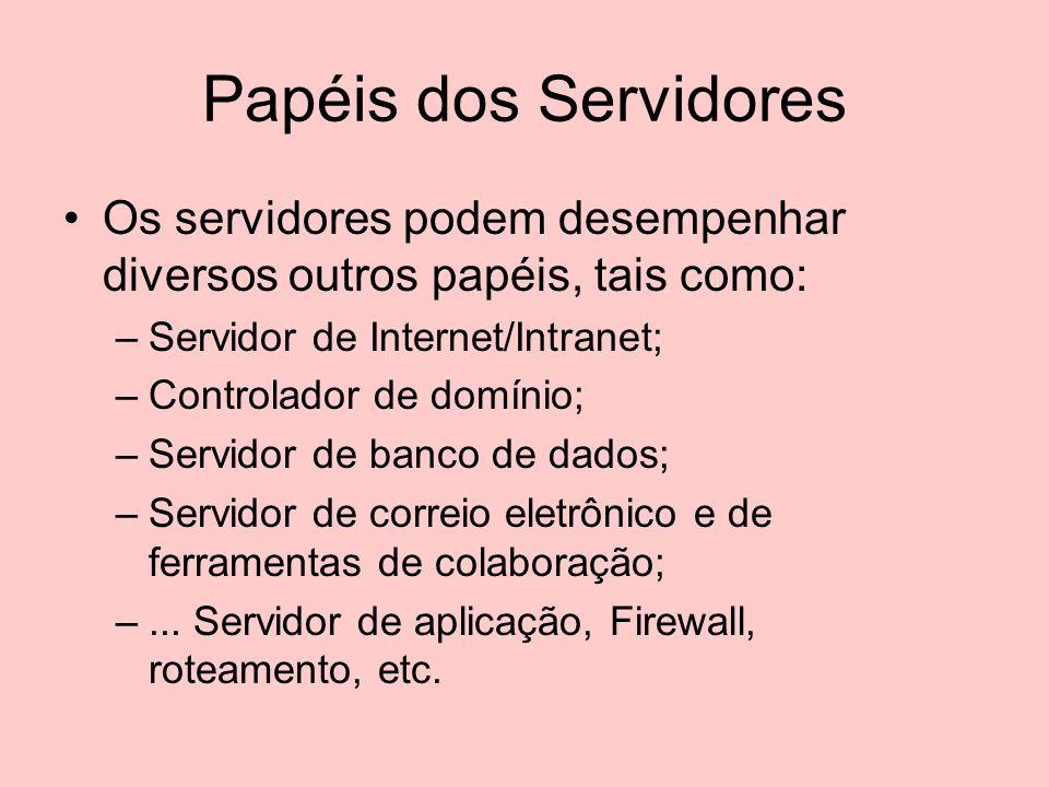 Papéis dos Servidores Os servidores podem desempenhar diversos outros papéis, tais como: Servidor de Internet/Intranet;